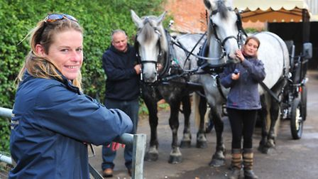 Julia Kitchen with her heavy horses in preparation for the Heavy Horse open day in Shipmeadow.