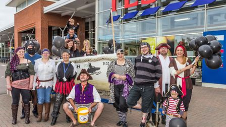 Crew of the Big Dog Ferry raise money outside Tesco in Beccles on International Talk Like a Pirate D