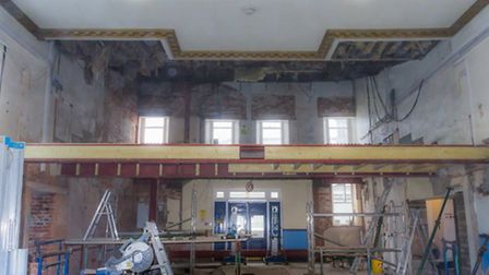 The Public Hall in Beccles is almost unrecognisable as the second phase of work gets under way.