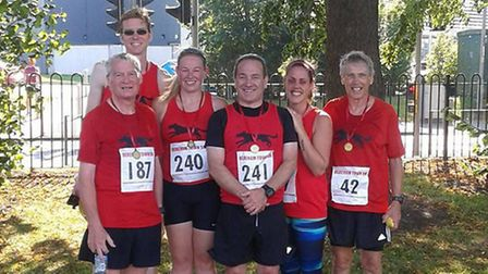 Some of the Black Dogs who enjoyed Derehams 5k road race. From left to right: Don Tiffin, David Neev