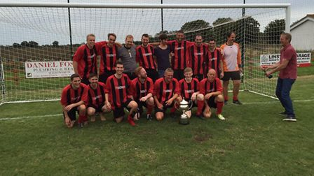 Cup winners: Barsham after their Bramfield Charity Cup win. Back row, left to right: Nick Holmes, Jo