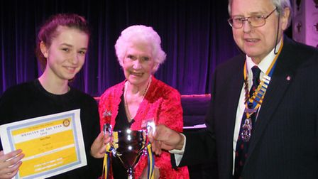 Last year's winner of theYoung Musician of the Year competition Daisy Whymark with Colleen Simpson a