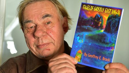 """Geoffrey Brock with his new """"Tales of Ghostly East Anglia' book."""