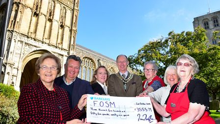 Cheque presentation to the Friends of St Michael's church from funds raised through the Charter week