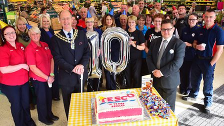 10th anniversary celebrations for Beccles Tesco.Town Mayor, Hugh Taylor and store manager Jon Whitta