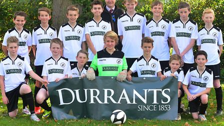 Beccles Town Under 13s Hornets in new kit sponsored by Durrants.