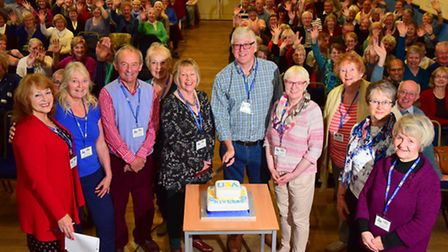 Beccles U3A group celebrating its first anniversary at Beccles public Hall.