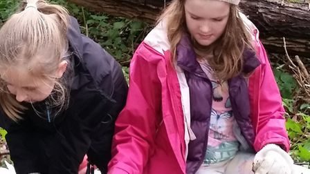 Rosie and Lily from Waveney Young Archaeologists' Club enjoy unearthing various items.
