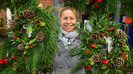 Bungay Christmas Market. Alice Trenchard with her wreaths.