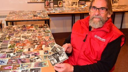 Relatives of Olive Bullen gather at Earsham Church Hall to view hundreds of old family photographs s