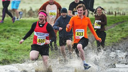 Last year's Boxing Day Groggy Doggy cross country run across Outney Meadow, Bungay.