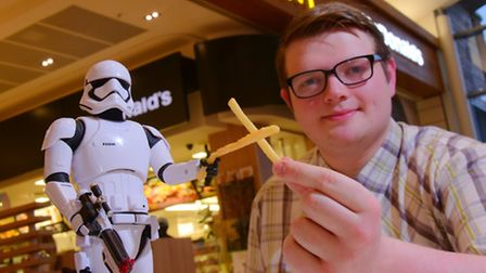 Former Beccles pupil Tom Elgie who plays a Stormtrooper in The Force Awakens! PHOTO BY SIMON FINLAY