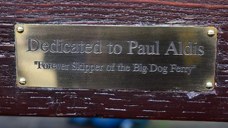 Official unveiling of a new bench created in memory of Big Dog Ferry skipper Paul Aldis.