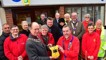 Supporters of the Beccles community defibrillator project with Beccles mayor Hugh Taylor and Beccles