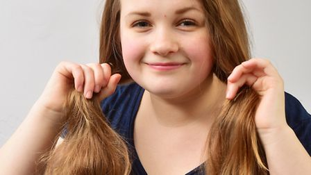Ella Thompson-Ives (14) has her hair cut off for The Little Princess Trust.PHOTO: Nick Butcher