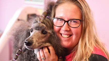 Dog groomer Tiffany Jennings from Beccles who has trained as an International Master Groomer, pictur