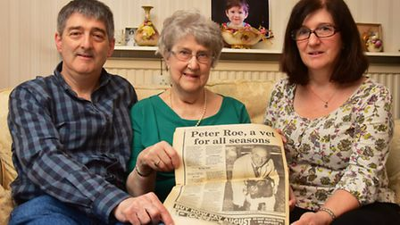 The family of fomer Beccles vet, Peter Roe. Pictured is his wife Barbara Roe with children Chris and