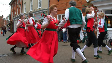 Dancers take part in Halesworth's Day of Dance in the town centre.