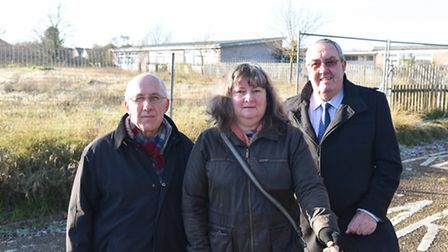 Adrain Crockett, Wendy Summerfield and Norman Brooks at the Worlingham Community Facility site. Pict