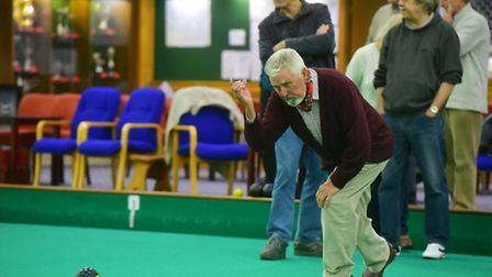 A visitor to the Beccles Indoor Bowls Club has a go during the open day. PHOTO: Nick Butcher