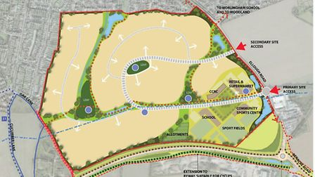 The plan put forward by Larkfleet Homes for the site in Worlingham.