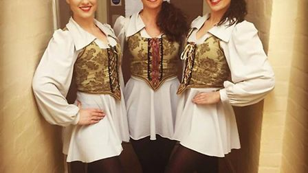 From left, Lizzie Stanley with fellow cast members Jade Spooner and Charlotte Eaton,