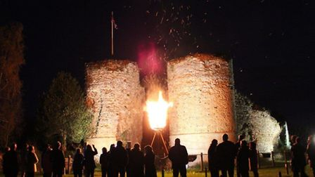 Crowds gather at the beacon lighting event in Bungay.