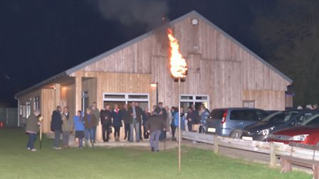 The beacon lighting in Topcroft to mark the Queen;s 90th birthday.