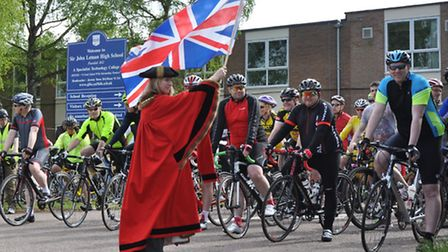 The starting line of a previous Beccles Cycle for Life ride.