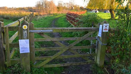 The section of the Wherryman's Way in Chedgrave which has been closed.