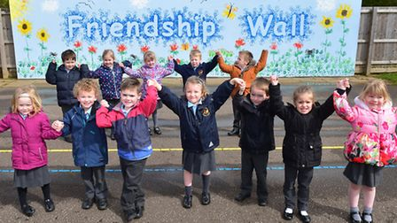 A new friendship wall has been created in the playgound at Worlingham Primary School. PHOTO: Nick Bu