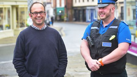 Dave Faulkner being welcomed to the town by Bungay mayor Olly Barnes. PHOTO: Nick Butcher
