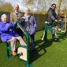 The new outdoor gym equipment at Beccles Lido. Pictured is Beccles mayor Hugh Taylor with lido direc