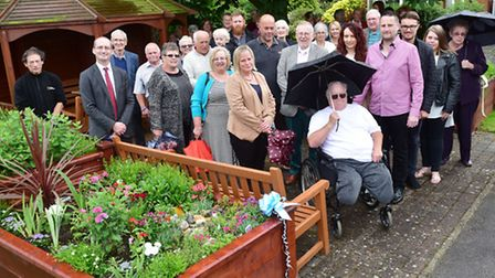 Friends of All Hallows Hospital in Ditchingham, open a new rasied garden in memory of Pat James who