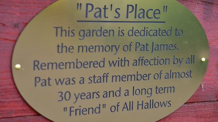 A plaque in memory of Pat James at the garden. PHOTO: Nick Butcher
