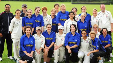 The Topcroft women's cricket team with the German All Stars when they played together two years ago.