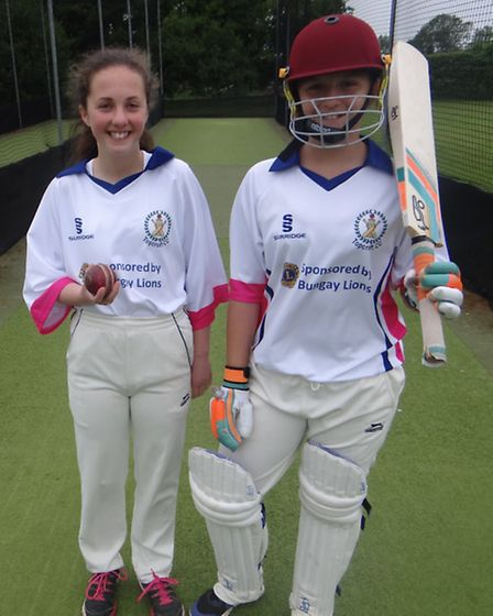 Polly Monroe and Cissie Waters, two of four girls who play at Topcroft Cricket Club.