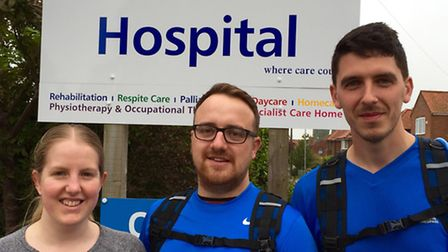 Lauren and Adam Baker with Adam Bedwell who are taking on the Yorkshire Three Peaks Challenge for Al