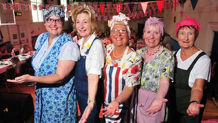 Rosie Riches, Llyn Cosgrove, Janice Grice, Pam Finch and Julia Filby at the 1940s themed afternoon t