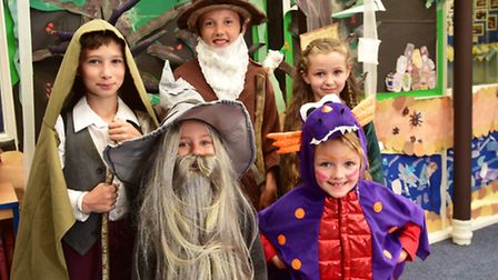 Youngsters from Loddon Junior School have created a Hobbit-themed library. PHOTO: Nick Butcher
