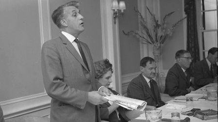 Donald Newby talking at a meeting in 1965.
