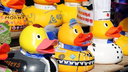 Some of the corporate ducks at a previous Beccles Duck Race.