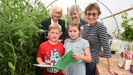 Anglia in Bloom judges Joan Gibson and Julia Smith with Gillian Coulson, Rosie Rolph and Theo Goddar