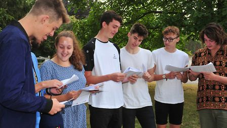 Bungay High School students collect GCSE results.PHOTO: Nick Butcher