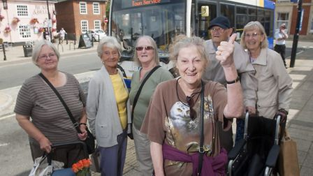 Doreen Clark (centre) with residents of Beccles celebrating the new bus service. PHOTO: Nick Butcher