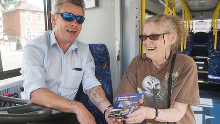 Doreen Clark with Bus driver Andy Dell. PHOTO: Nick Butcher