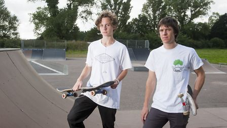 Jacob Pink and Ashley Lever at the current Beccles Skatepark. There is an ongoing campaign to raise