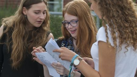 Bungay Sixth Form students celebrate great A-level results. PHOTO: Nick Butcher