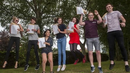 Sixth form students at Sir John Leman High school celebrate their A-level results. PHOTO: Nick Butch