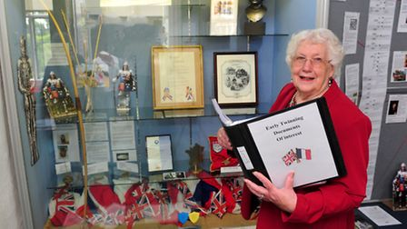 Former mayor of Beccles Pauline Wooden opens a new exhibition organised by the town's twinning assoc